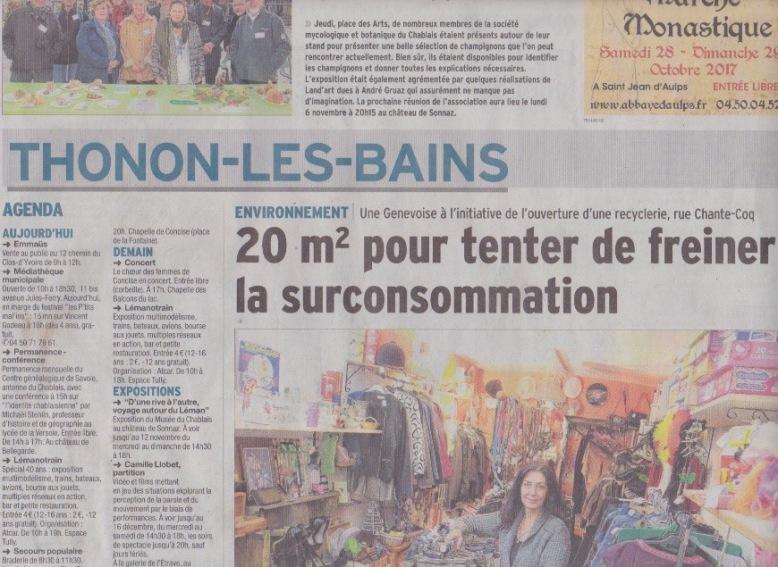 article Dauphiné libéré oct.2017 p1